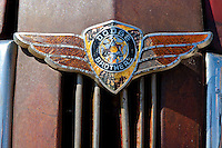 Hood emblem on a 1937 Dodge in Malta, Montana.