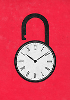 Clock face on unlocked padlock ExclusiveImage