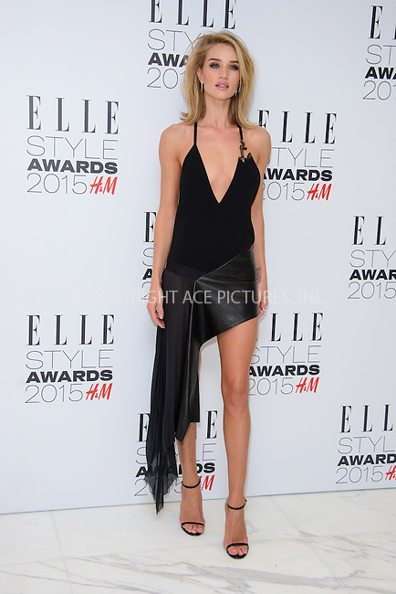 WWW.ACEPIXS.COM<br /> <br /> February 24 2015, London<br /> <br /> Rosie Huntington-Whiteley arriving at the ELLE style awards 2015 at the Walkie Talkie Tower on February 24 2015 in London<br /> <br /> By Line: Famous/ACE Pictures<br /> <br /> <br /> ACE Pictures, Inc.<br /> tel: 646 769 0430<br /> Email: info@acepixs.com<br /> www.acepixs.com