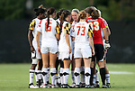 20 September 2012: Maryland's starters huddle before the game. The University of Maryland Terrapins played the Duke University Blue Devils to a 2-2 tie after overtime at Koskinen Stadium in Durham, North Carolina in a 2012 NCAA Division I Women's Soccer game.