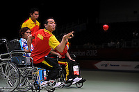 04.09.2012 Stratford, England. Zhiqiang Yan of China in action during the Boccia Mixed Team BC1-2 on day 6 of the London 2012 Paralympic Games at the ExCel Centre.