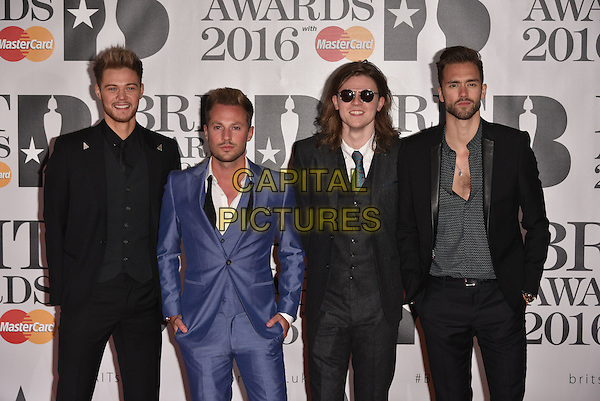 LONDON, ENGLAND - FEBRUARY 24: Brandon Flowers &amp; The Killers attends the BRIT Awards 2016 at The O2 Arena on February 24, 2016 in London, England<br /> CAP/PL<br /> &copy;Phil Loftus/Capital Pictures