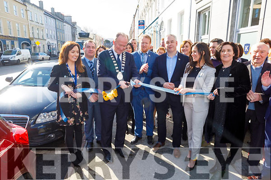 The Mayor of Tralee, Cllr: Jim Finucane cutting the ribbon at the official opening of the new admissions office for Kerry Colleges in Denny Street on Tuesday. <br /> L to r: Ella O'Donoghue, Stephen Golden (Acting Director of Further Education), Cllr: Jim Finucane (Mayor of Tralee), Con O'Sullivan (Manager of Kerry College Monavalley Campus), John Herlihy and Niamh O'Donovan.