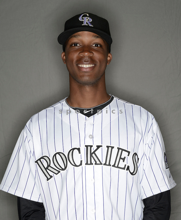 Colorado Rockies Rosell Herrera (76) at media photo day during spring training on February 26, 2014 in Phoenix, AZ