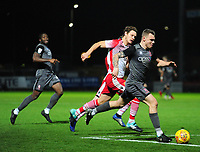Lincoln City's Harry Anderson gets past Stevenage's Ben Nugent<br /> <br /> Photographer Andrew Vaughan/CameraSport<br /> <br /> The EFL Sky Bet League Two - Stevenage v Lincoln City - Saturday 8th December 2018 - The Lamex Stadium - Stevenage<br /> <br /> World Copyright © 2018 CameraSport. All rights reserved. 43 Linden Ave. Countesthorpe. Leicester. England. LE8 5PG - Tel: +44 (0) 116 277 4147 - admin@camerasport.com - www.camerasport.com