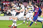 VfL Borussia Monchengladbach's Tony Jantschke, Andreas Christensen, Jannik Vestergaard, FC Barcelona's Leo Messi  during Champions League match between Futbol Club Barcelona and VfL Borussia Mönchengladbach  at Camp Nou Stadium in Barcelona , Spain. December 06, 2016. (ALTERPHOTOS/Rodrigo Jimenez)