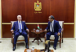 Palestinian Prime Minister Rami Hamdallah meets with governor of Salfit governorate Ibrahim al-Balawi, in the West Bank city of Salfit on July 22, 2017. Photo by Prime Minister Office