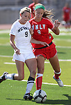 Jenn Wolfe, of the UNLV Rebels, plays against Annabelle Allen of the Nevada women's soccer game in Reno, Nev., on Sunday, Sept. 3, 2011. UNLV won 2-1..Photo by Cathleen Allison