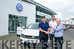Eamonn Fitzmaurice was presented with a new VW by Paul Langston with O'Sullivan at Divanes of Castleisland on Friday