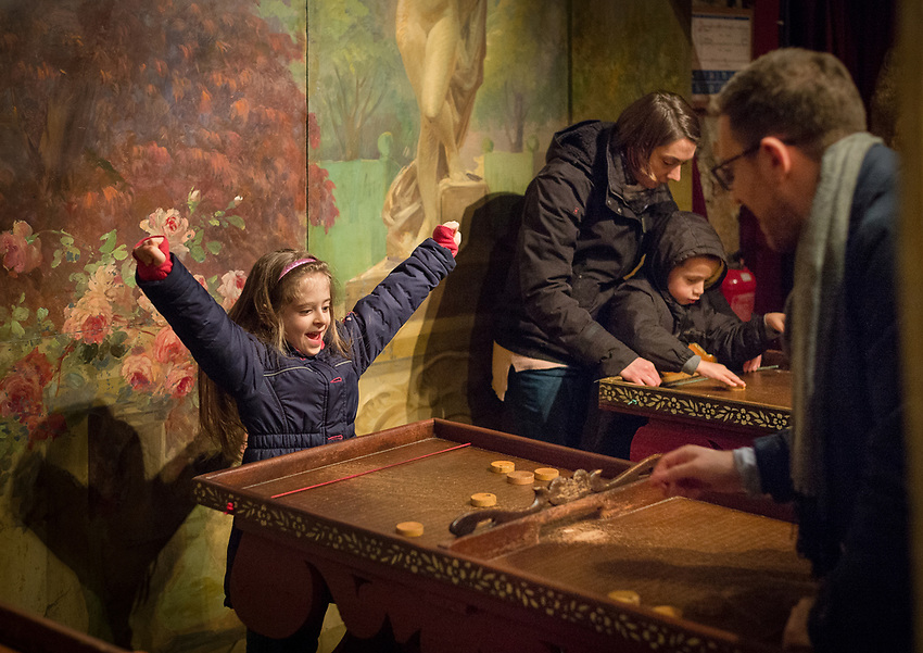 "The Festival du Merveilleux at the Musée des Arts Forains in the Pavillons de Bercy, in the12th Arrondissement of Paris at 53, Avenue des Terroirs de France. The Musée des Arts Forains is a spectacular and very unusual private museum created and owned by Jean-Paul Favand in the old wines stores of Paris, to house his huge collection of 19th and 20th century fairground objects and cabaret memorabilia. It is also a museum for events and spectacles. As Jean-Paul Favand remarks, ""There were plenty of museums dedicated to war. There was no museum for laughter and merriment. I have created a dream world that is brought to life by those who visit."" The Musée des Arts Forains is a timeless escape from the world of reality. A wonderland visit to a cabinet de curiosités. A Grand Meaulnes discovery of an enchanted domaine. Phantoms, Unicorns, musical instruments that play with no human hand. Fantastical gardens. Fairground manèges from the Belle Epoque. And all the more special since you can join the magical moment: ride the hundred year old fairground roundabouts, compete on the antique games. The visitors themselves become the actors in the scene. Saturday and Sunday 6th and 7th January 2018. Photograph by Andrew Lyndon-Skeggs of ANLS Photography www.anlsphotography.photoshelter.com"