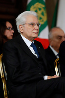 President of the Republic Sergio Mattarella<br /> Rome December 19th 2018. Quirinale. Traditional exchange of Christmas wishes between the President of the Republic and the institutions.<br /> Foto Samantha Zucchi Insidefoto