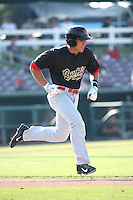 Joey Armstrong (19) of the Visalia Rawhide runs to first base during a game against the Inland Empire 66ers at San Manuel Stadium on June 26, 2016 in San Bernardino, California. Inland Empire defeated Visalia, 5-1. (Larry Goren/Four Seam Images)