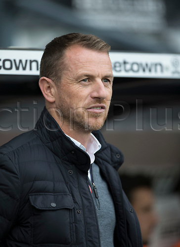 21st October 2017, Pride Park Stadium, Derby, England; EFL Championship football, Derby County versus Sheffield Wednesday; Derby County Manager Gary Rowett in the team dug out before the kick off