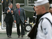 CAMP DAVID, MD - JULY 29: (AFP OUT) U.S. President George W. Bush (R) walks with British Prime Minister Gordon Brown after he arrived at Camp David July 29, 2007 in Camp David, Maryland. The two leaders will attend meetings to discuss many topics including the situation in Iraq and Afghanistan.  (Photo by Mark Wilson/Getty Images)