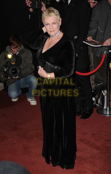 DAME JUDI DENCH .London Film Critics' Circle Awards, Grosvenor House Hotel, London, England, February 4th 2009.full length long black maxi wrap dress choker clutch bag .CAP/CAS.©Bob Cass/Capital Pictures