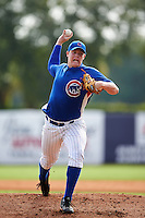 Pitcher Zach Linginfelter (28) of Sevier County High School in Sevierville, Tennessee playing for the Chicago Cubs scout team during the East Coast Pro Showcase on July 30, 2015 at George M. Steinbrenner Field in Tampa, Florida.  (Mike Janes/Four Seam Images)