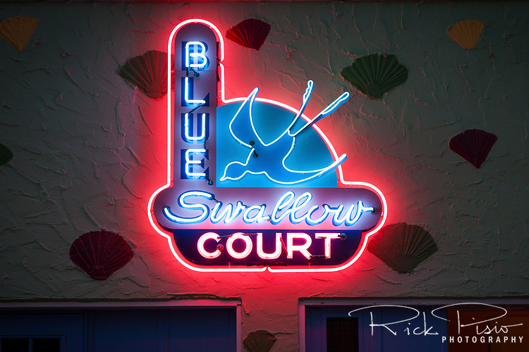 Recreation of the original sign of the Blue Swallow Motor Court along Route 66 in Tucumcari, New Mexico.