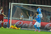 Gonzalo Higuain  celebrates   during the Europa League   soccer match between SSC Napoli and Sparta Praha  at  the San Paolo   stadium in Naples  Italy , september 18 , 2014