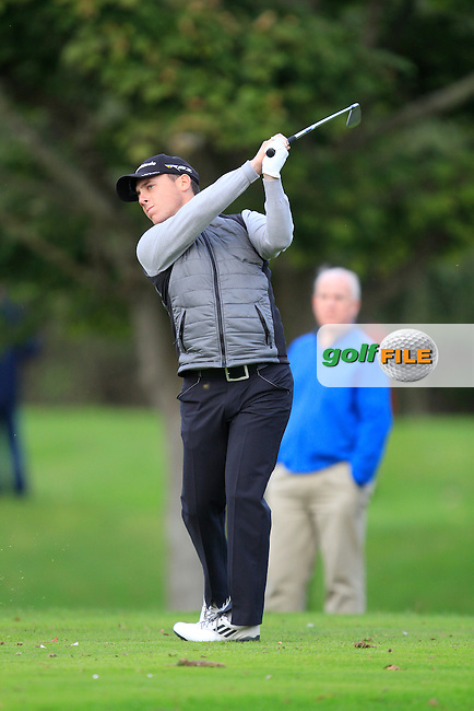 Cian McNamara (Monkstown G.C) on the 12th tee during Round 4 of The Cassidy Golf 103rd Irish PGA Championship in Roganstown Golf Club on Sunday 13th October 2013.<br /> Picture:  Thos Caffrey / www.golffile.ie