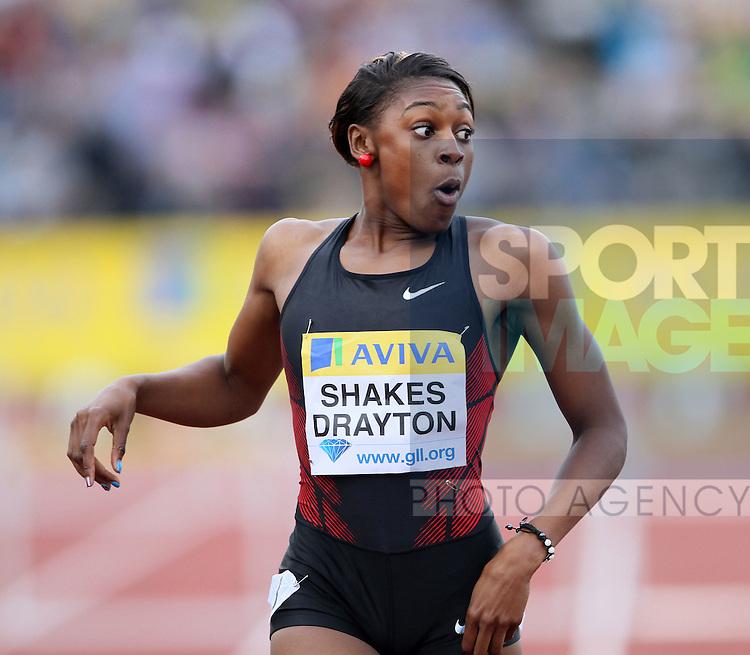 Britains Perri Shakes-Drayton finishes the Womens 400m Hurdles