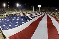 California ROTC members display the USA Flag during national anthem before the game between California and Oregon at Memorial Stadium in Berkeley, California on November 10th, 2012.   Oregon Ducks defeated California Bears, 59-17.