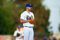 Rancho Cucamonga Quakes starting pitcher Andrew Sopko (12) prepares to deliver a pitch during a California League game against the Lake Elsinore Storm at LoanMart Field on May 18, 2018 in Rancho Cucamonga, California. Lake Elsinore defeated Rancho Cucamonga 5-4. (Zachary Lucy/Four Seam Images)
