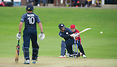 ICC World T20 Qualifier (Warm up match) - Scotland V Jersey at Heriots CC, Edinburgh - Scotland opener Geroge Munsey send the ball to the boundary on the sweep — credit @ICC/Donald MacLeod - 06.7.15 - 07702 319 738 -clanmacleod@btinternet.com - www.donald-macleod.com