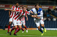 Blackburn Rovers' Danny Graham waiting for a cross with Stoke City U23s' Lewis Banks <br /> <br /> Photographer Andrew Kearns/CameraSport<br /> <br /> The EFL Checkatrade Trophy - Blackburn Rovers v Stoke City U23s - Tuesday 29th August 2017 - Ewood Park - Blackburn<br />  <br /> World Copyright &copy; 2018 CameraSport. All rights reserved. 43 Linden Ave. Countesthorpe. Leicester. England. LE8 5PG - Tel: +44 (0) 116 277 4147 - admin@camerasport.com - www.camerasport.com