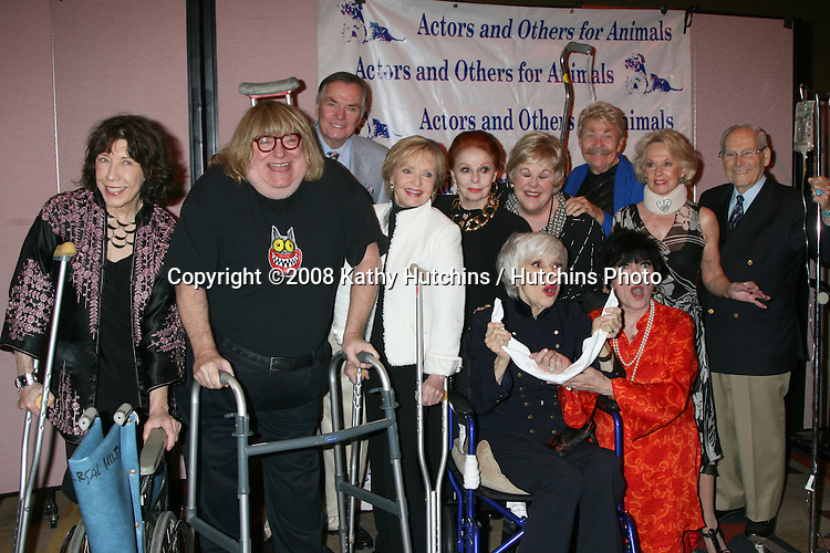 Carol Channing with her celebrity friends (Lily Tomlin, Bruce Vilanch, Peter Marshall, Florence Henderson, Carol Cooke, Mary Jo Catlett, Rip Taylor, Tippi Hedren, Her husband, and JoAnne Worley)  sympathizing with her injured status by using props of crutches, walkers, and IV stand at  the Actors & Others for Animals Roast of Carol Channing at the Universal Hilton Hotel in Los Angeles, CA on .November 15, 2008.©2008 Kathy Hutchins / Hutchins Photo...                . .