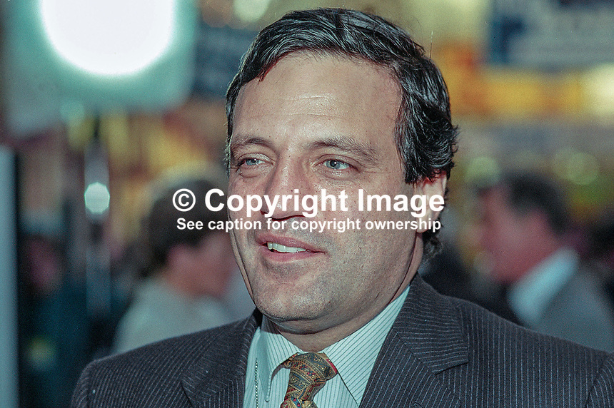 Tim Eggar, MP, Conservative Party, UK, 199510209.<br /> <br /> Copyright Image from Victor Patterson,<br /> 54 Dorchester Park, <br /> Belfast, UK, BT9 <br /> <br /> t1: +44 28 9066 1296 (from Rep of Ireland 048 90661296)<br /> t2: +44 28 9002 2446 (from Rep of Ireland 048 9002 2446)<br /> <br /> m: +44 7802 353836<br /> <br /> e: victorpatterson@me.com<br /> www.victorpatterson.com<br /> <br /> Please see my Terms and Conditions of Use at www.victorpatterson.com. It is IMPORTANT that you familiarise yourself with them.<br /> <br /> Images used on the Internet must be visibly watermarked i.e. &copy; Victor Patterson<br /> within the body of the image and copyright metadata must not be deleted. Images <br /> used on the Internet have a size restriction of 4kbs and will be chargeable at current<br />  NUJ rates unless agreed otherwise.<br /> <br /> This image is only available for the use of the download recipient i.e. television station, newspaper, magazine, book publisher, etc, and must not be passed on to any third <br /> party. It is also downloaded on condition that each and every usage is notified within 7 days to victorpatterson@me.com<br /> <br /> The right of Victor Patterson to be identified as the author is asserted in accordance with The Copyright Designs And Patents Act (1988). All moral rights are asserted.