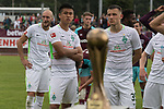 29.07.2017, Fritz Detmar Stadion, Lohne, GER, FSP SV Werder Bremen (GER) vs WestHam United (ENG), <br /> <br /> im Bild<br /> Matchwinner zum 2:2 Yuning Zhang (Neuzugang SV Werder Bremen #19) schaut auf den Pokal <br /> li Trschuetze zum 1 zu 0 Luca Caldirola (Werder Bremen #3) <br /> re Maximilian Eggestein (Werder Bremen #35) und Robert Bauer (Werder Bremen #4)<br /> <br /> Foto © nordphoto / Kokenge