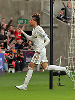 Saturday, 20 October 2012<br /> Pictured: Michu of Swansea celebrating his goal<br /> Re: Barclays Premier League, Swansea City FC v Wigan Athletic at the Liberty Stadium, south Wales.