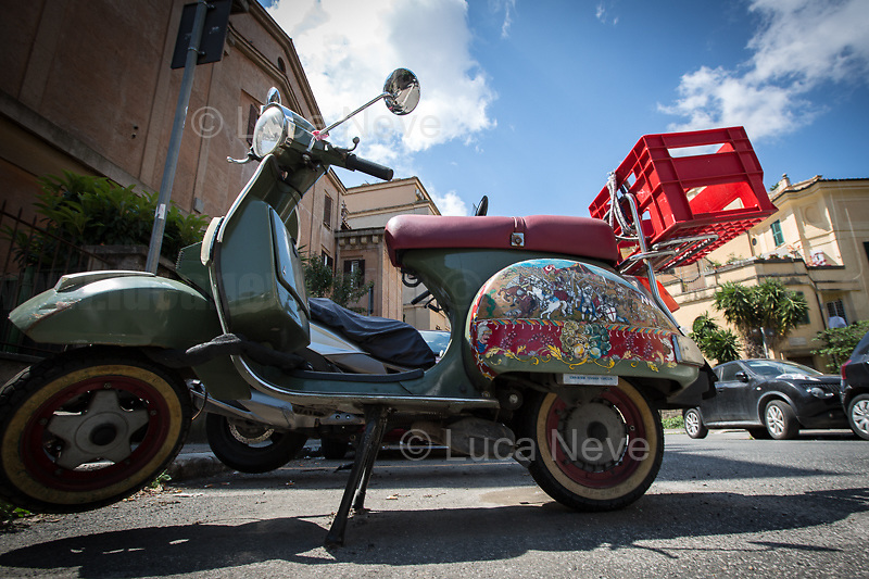 """Rome, 25/04/2020. Today, to mark the 75th Anniversary of the Italian Liberation from nazi-fascism (Liberazione) in Rome, I documented backwards the route of the annual march (Corteo) from Garbatella (South Rome's District in the VIII Municipio / Municipality which in 2020 celebrates 100 years from its foundation) to Piazzale Ostiense (1.) where usually a rally took place attended by Partizans / Partigiani (2.), Veterans and politicians. This year people were not allowed to attend the Commemoration (held with just a delegation of WWII Italian Partizans / Partigiani - including ANPI (3.) - along with the Mayor of Rome and few other Institutional Representatives) due to the spread of the 2019-20 Coronavirus pandemic (SARS-CoV-2 – infection: COVID-19, 5.) which already killed more than 200,000 people in the world (Data by WHO / OMS). The day ended with a flashmob held from the windows of Garbatella's Palladium (6.), where people sang two of the most famous Partizans / Partigiani's Anthems: Bella Ciao and Fischia Il Vento, the Italian Anthem """"Il Canto Degli Italiani / Inno d'Italia / Inno di Mameli"""", and few other songs (4.) which celebrate and remember the Partisans / Partigiani, their Sacrifice for the Freedom, the Italian Constitution, and the Future of Italy and Europe without fascisms and dictatorships.<br /> <br /> Footnotes & Links:<br /> 1. (25 Aprile 2018) http://tiny.cc/dsi3nz<br /> 2. (I Partigiani) http://tiny.cc/cwi3nz<br /> 3. http://www.anpi.it<br /> 4. Video (Source, Repubblica.it) : http://tiny.cc/3yi3nz<br /> 5. Rome's Lockdown: http://tiny.cc/d3i3nz & http://tiny.cc/w5i3nz <br /> 6. (Source, Wikipedia.org ENG) http://tiny.cc/6fm3nz <br /> (Liberazione: Source, Wikipedia.org ENG) http://tiny.cc/l9i3nz"""