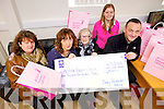 Staff from Barry's Packaging, Tralee handed over a cheque of ?4,500 on Monday morning to ..Pictured from l-r were: Brenda Griffin, Breda Barry, Chris Griffin, Ashley Casey and Eamonn Barry. Staff from Barry's Packaging, Tralee handed over a cheque of ?4,500 on Monday morning to Action Breast Cancer after a two year campaign seeing their pink bags. Pictured from l-r were: Brenda Griffin, Breda Barry, Chris Griffin, Ashley Casey and Eamonn Barry.