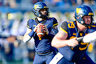 Morgantown, WV - NOV 10, 2018: West Virginia Mountaineers quarterback Will Grier (7) in the pocket during game between West Virginia and TCU at Mountaineer Field at Milan Puskar Stadium Morgantown, West Virginia. (Photo by Phil Peters/Media Images International)