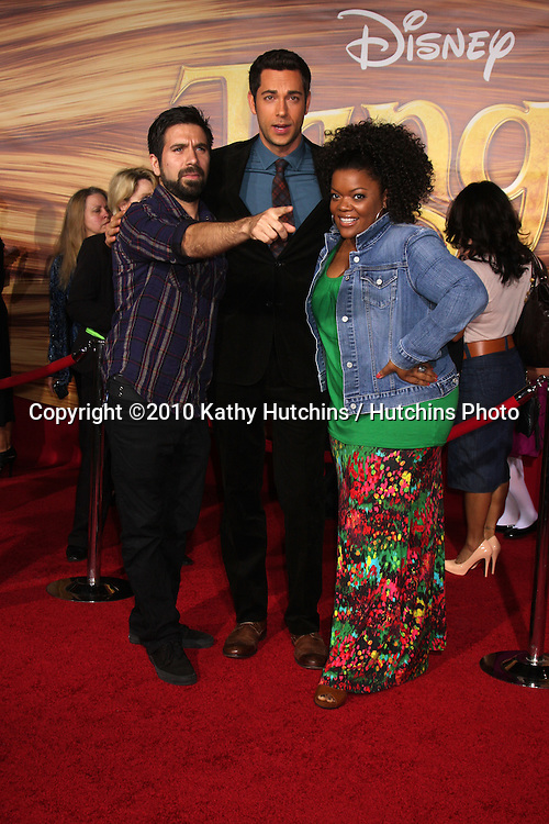 "LOS ANGELES - NOV 14:  Josh Gomes, Zachary Levi, Yvette Nicole Brown arrives at the ""Tangled"" World Premiere at El Capitan Theater on November 14, 2010 in Los Angeles, CA"