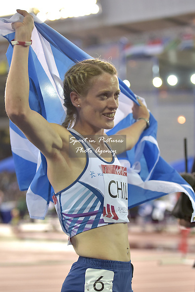 Eilidh Childs (SCO) after getting silver in the womens 400m hurdles. Athletics. PHOTO: Mandatory by-line: Garry Bowden/SIPPA/Pinnacle - Tel: +44(0)1363 881025 - Mobile:0797 1270 681 - VAT Reg No: 183700120 - 310714 - Glasgow 2014 Commonwealth Games - Hampden Park, Glasgow, Scotland, UK