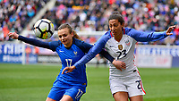 Harrison, N.J. - Sunday March 04, 2018: Marion Torrent, Christen Press during a 2018 SheBelieves Cup match between the women's national teams of the United States (USA) and France (FRA) at Red Bull Arena.