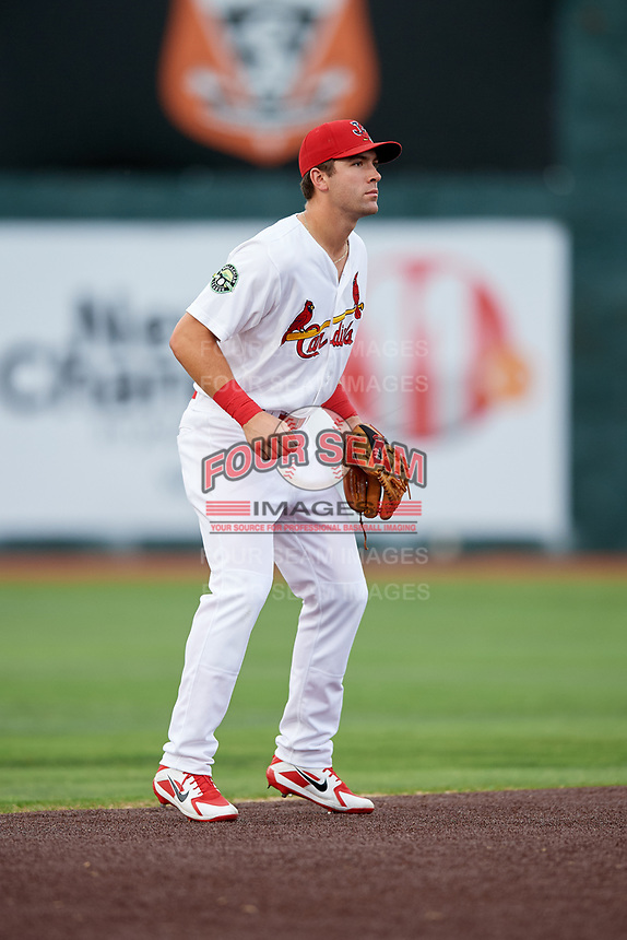 Johnson City Cardinals shortstop Michael Perri (8) during a game against the Danville Braves on July 28, 2018 at TVA Credit Union Ballpark in Johnson City, Tennessee.  Danville defeated Johnson City 7-4.  (Mike Janes/Four Seam Images)