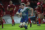 Connacht lock Mike Swift bursts through to score a try..Scarlets v Connacht.Parc y Scarlets.Rabo Pro12.08.02.13.©Steve Pope-SPORTINGWALES