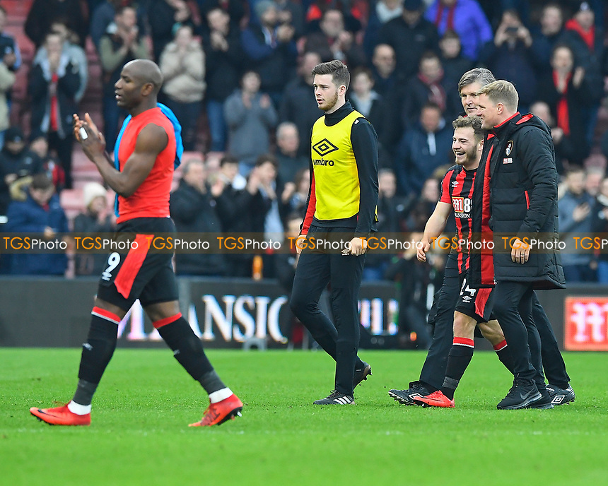 Ryan Fraser of AFC Bournemouth and AFC Bournemouth Manager Eddie Howe share a joke at the final whistle during AFC Bournemouth vs Arsenal, Premier League Football at the Vitality Stadium on 14th January 2018