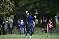 Graeme McDowell (NIR) in action down the 16th fairway during the Final Round of the British Masters 2015 supported by SkySports played on the Marquess Course at Woburn Golf Club, Little Brickhill, Milton Keynes, England.  11/10/2015. Picture: Golffile | David Lloyd<br /> <br /> All photos usage must carry mandatory copyright credit (© Golffile | David Lloyd)