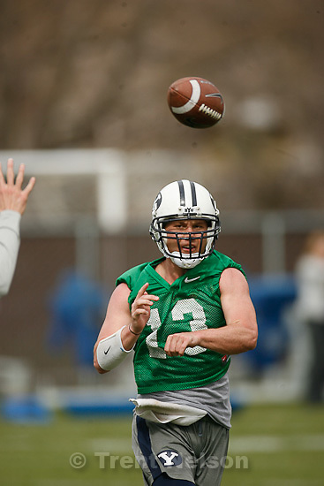 Trent Nelson  |  The Salt Lake Tribune.BYU quarterback Riley Nelson at football practice in Provo, Utah, Tuesday, April 5, 2011.