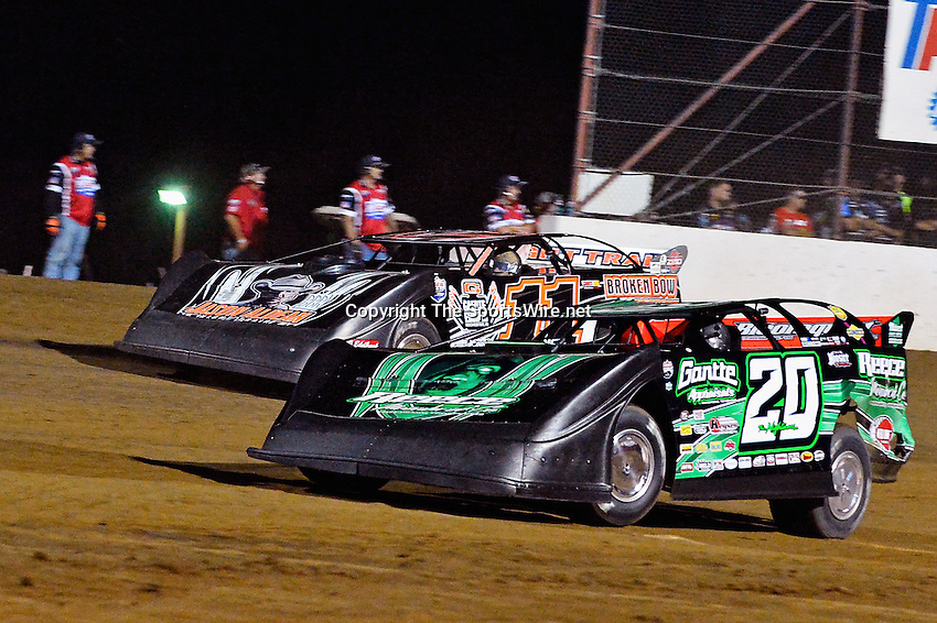 May 25, 2013; 10:17:20 PM; Wheatland, Mo., USA; The  Lucas Oil Late Model Dirt Series running the 21st Annual Lucas Oil Show-Me 100 Presented by ProtectTheHarvest.com.  Mandatory Credit: (thesportswire.net)