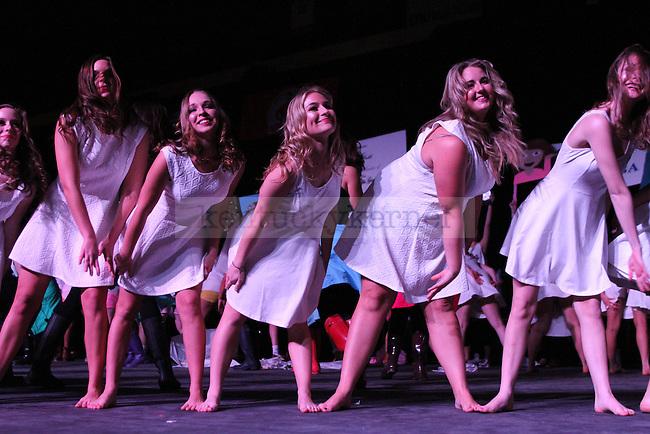 Members of Kappa Kappa Gamma perform at Greek Sing 2015 at Memorial Coliseum Saturday, March 7, 2015 in Lexington. Photo by Joel Repoley | Staff