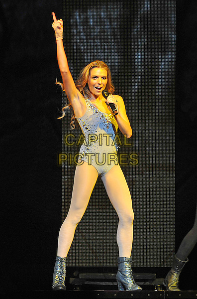 "ASHLYNE HUFF.Pop singer ASHLYNE HUFF performs as the opening act for the ""NKOTBSB TOUR 2011"" held at the Consol Energy Center, Pittsburgh, PA, USA..June 15th, 2011.stage concert live gig performance music full length blue leotard white boots arm in air singing.CAP/ADM/JN.©Jason L Nelson/AdMedia/Capital Pictures."