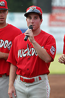 Batavia Muckdogs outfielder Mike O'Neil #11 introduces himself during the teams pre-season pep rally at Dwyer Stadium on June 15, 2011 in Batavia, New York.  Photo By Mike Janes/Four Seam Images
