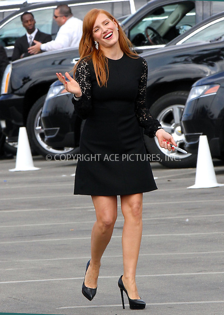 WWW.ACEPIXS.COM<br /> <br /> February 21 2015, Los Angeles CA<br /> <br /> Actress Jessica Chastain arriving at the 2015 Film Independent Spirit Awards at Santa Monica Beach on February 21, 2015 in Santa Monica, California.<br /> <br /> <br /> Please byline: Nancy Rivera/ACE Pictures<br /> <br /> ACE Pictures, Inc.<br /> www.acepixs.com, Email: info@acepixs.com<br /> Tel: 646 769 0430