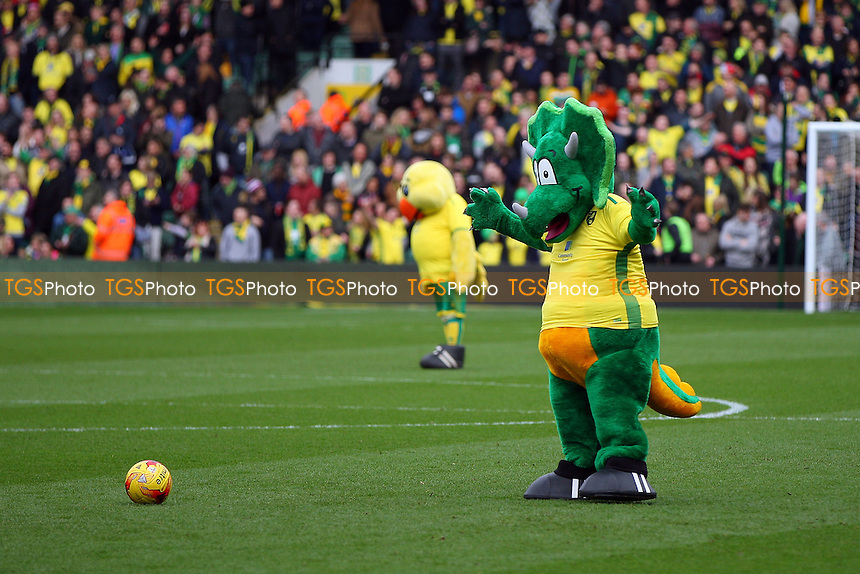 Norwich mascot with a ball during Norwich City vs Ipswich Town, Sky Bet EFL Championship Football at Carrow Road on 26th February 2017