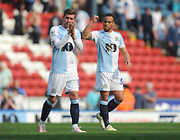 Blackburn Rovers' Elliott Bennett (right) celebrates his sides win<br /> <br /> Photographer Kevin Barnes/CameraSport<br /> <br /> The EFL Sky Bet Championship - Blackburn Rovers v Bolton Wanderers - Monday 22nd April 2019 - Ewood Park - Blackburn<br /> <br /> World Copyright © 2019 CameraSport. All rights reserved. 43 Linden Ave. Countesthorpe. Leicester. England. LE8 5PG - Tel: +44 (0) 116 277 4147 - admin@camerasport.com - www.camerasport.com